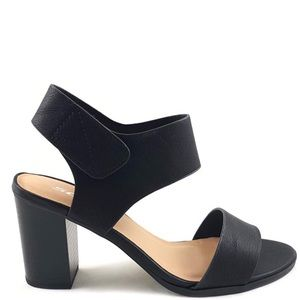 Soda Wait Black Velcro Strap Wood Heel Sandal